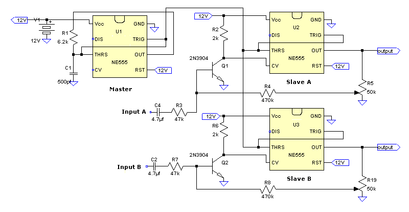 PWM 555 http://geekcircuits.com/2010/04/2-channel-555-timer-class-d-amp-source/