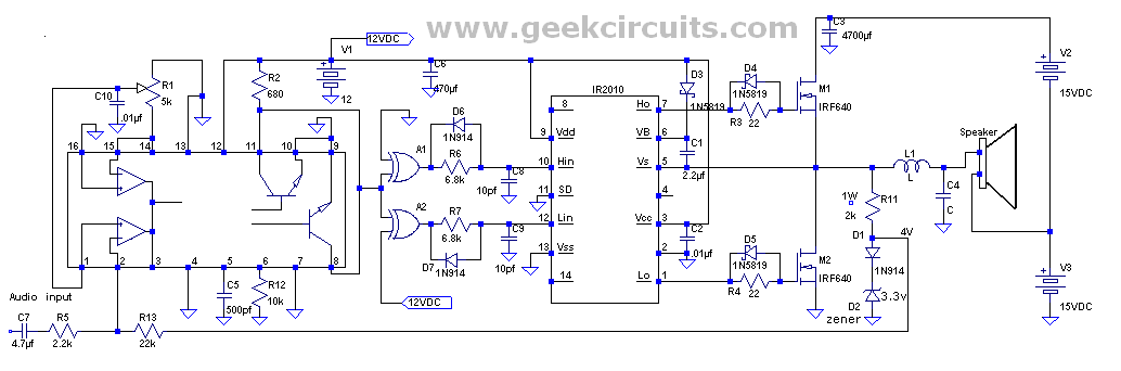 class d amp using tl494 dc to dc converter chip geek circuits. Black Bedroom Furniture Sets. Home Design Ideas