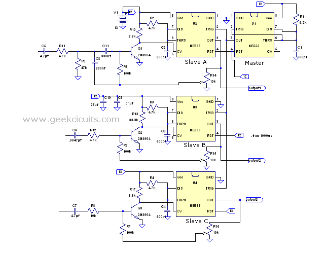 Active crossover network using 555 timer as class d amp Geek Circuits