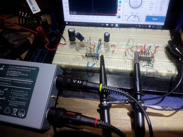 Breadboard layout for testing on the left LM319 right TL494