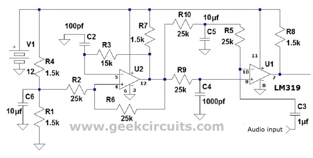 Class D amp using LM319 comparator – Geek Circuits